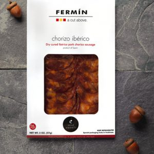 Sliced Iberico Pok Chorizo Sausage | Chorizo Iberico en lonchas | Cured Meat | Fermin Ibericos | Spanish Food