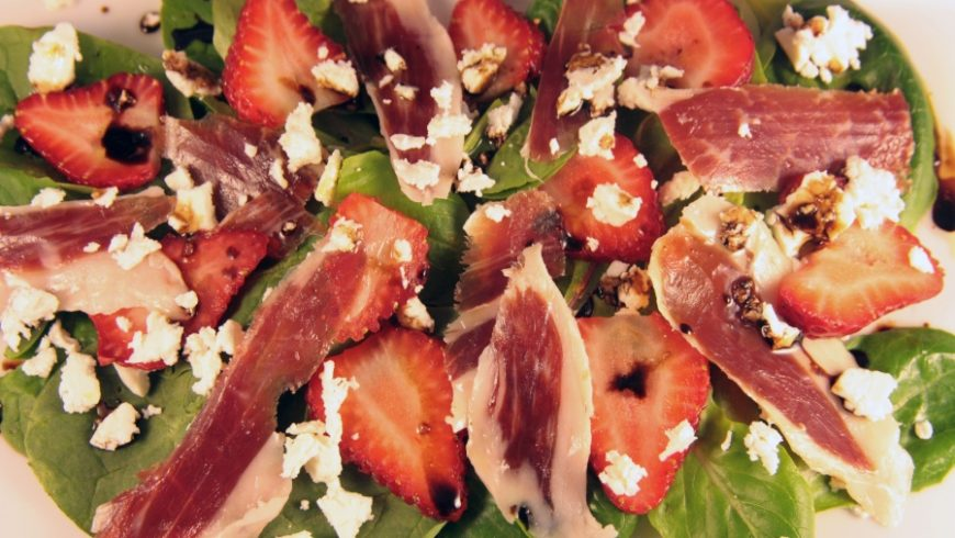 Spinach, Strawberry and Iberico Ham Salad