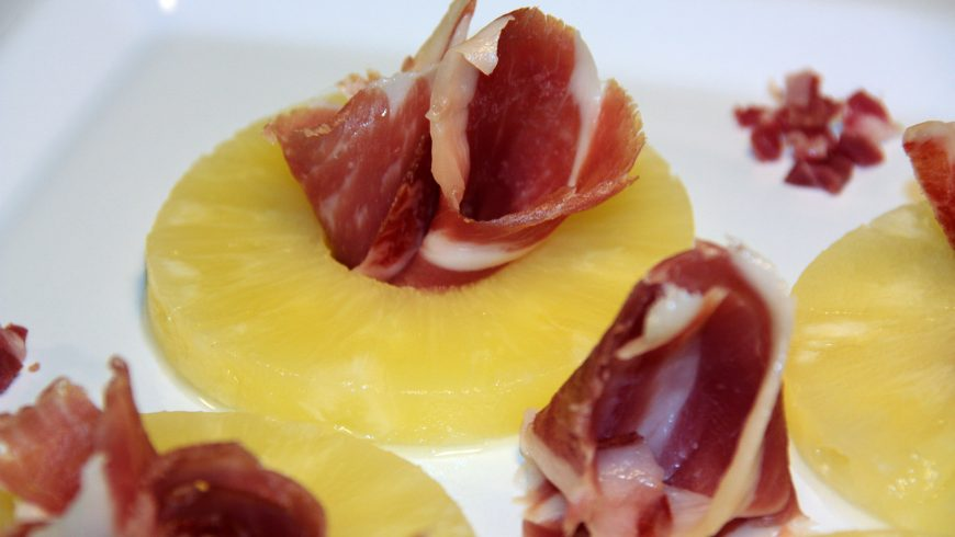 Serrano ham over pineapple nest