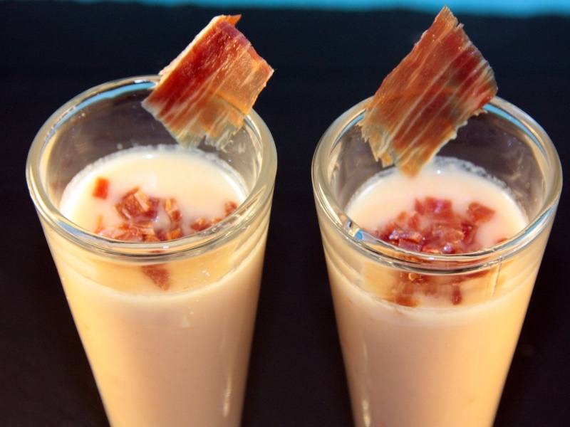 Chilled Cantaloupe Soup with Iberico Ham