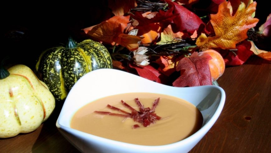 Butternut Squash Soup with Crunchy Iberico Ham