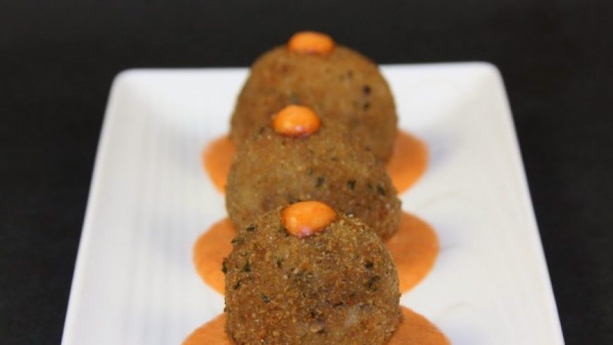 Morcilla Croquettes with Red Pepper Sauce