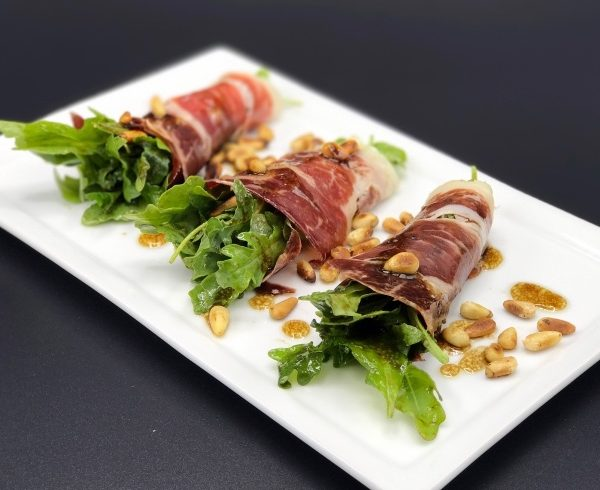 Salad Wrapped in Jamon Iberico